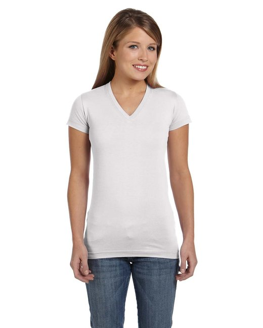 LAT [3607] Ladies'  Junior Fine Jersey V-Neck Longer Length T-Shirt