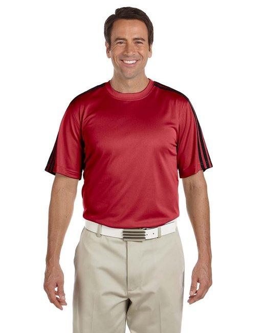 adidas Golf A72 Men's ClimaLite 3-Stripes T-Shirt - UNIVERSITY RED/BLACK - L at Sears.com