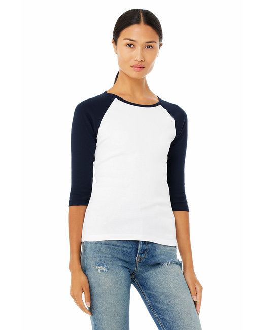 Bella [B2000] Ladies'  5.8 oz., 1x1 Baby Rib 3/4-Sleeve Contrast Raglan T-Shirt