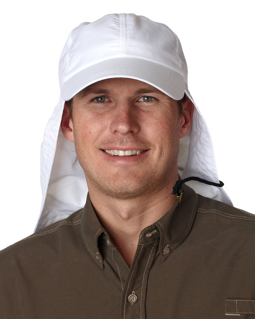 Adams [EOM101] 6-Panel Low-Profile Cap with Elongated Bill and Neck Cape