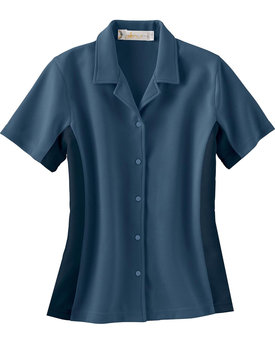 77016 Ash City - Il Migliore Ladies' Knit Ottoman Color-Block Camp Shirt