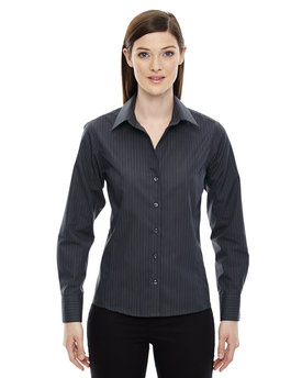 78674 Ash City - North End Sport Blue Ladies' Boardwalk Wrinkle-Free Two-Ply 80's Cotton Striped Tape Shirt