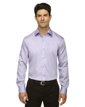 88673 Ash City - North End Sport Blue Men's Boulevard Wrinkle-Free Two-Ply 80's Cotton Dobby Taped Shirt with Oxford Twill