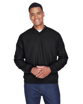 8926 UltraClub Adult Long-Sleeve Microfiber Crossover V-Neck Windshirt